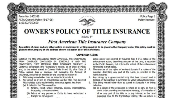 Title insurance protects a policyholder from any events ...